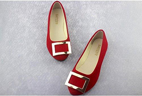 Red piatto donna camminate ufficio da scarpe LvYuan pelle amp; tacco amp; pigro mocassini scarpe comodità scamosciata moda casual CN41 da Scarpe carriera casual ginnastica qBxxCAwnz