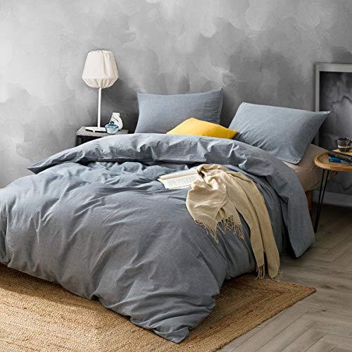 - ATsense Duvet Cover Sets, 100% Washed Cotton, 3-Piece Bedding Duvet Cover, Simple Style Farmhouse Bedding Set (California King, Modern Grey 7047)