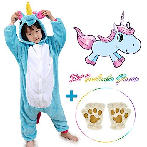 ids Animals Sleepwear Pajamas Pjs Costume with Gloves (Blue 7) ()