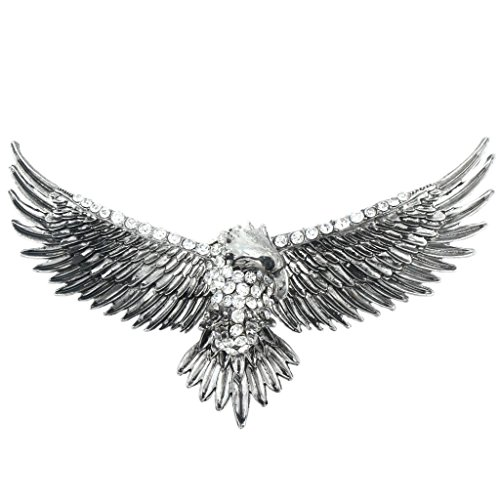 EVER FAITH Women's Austrian Crystal Vintage Style Flying Eagle Bird Brooch Clear Antiqued Silver-tone (Flying Bird Pin)
