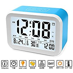 Digital Alarm Clock 4.5'' Display Talking Clock with 3 Alarms, 7 Rings, Optional Weekday Alarm, Intelligent Noctilucent & Snooze Function, Month Date & Temperature Display, Battery Operated
