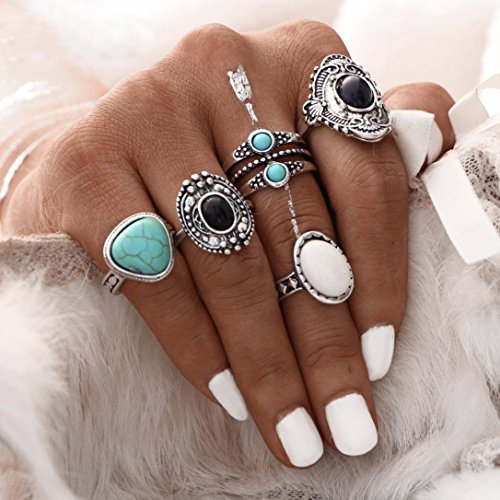Susenstone 5pcs/Set Women Bohemian Vintage Silver Stack Rings, Above Knuckle Blue Rings Set