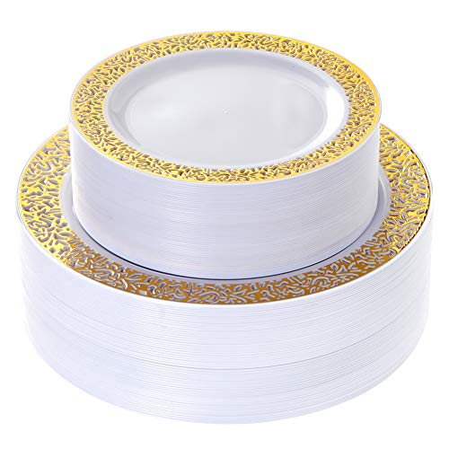 60 Pieces Gold Plates, Plastic Party Plates Reusable, Disposable wedding Plates Premium Heavyweight Includes: 30 Dinner Plates 10.25 Inch and 30 Salad/Dessert Plates 7.5 Inch