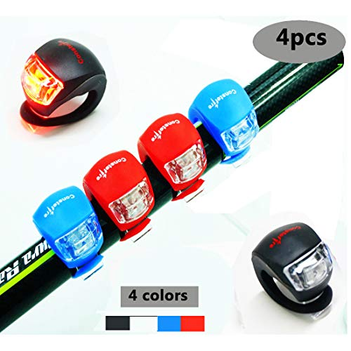 4PCS Constefire Bicycle Light Front and Rear Silicone LED Bike Light Set - Bike Headlight and Taillight,Waterproof & Safety Road,Mountain Bike Lights,Batteries ()