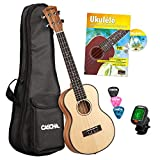 CASCHA Professional Tenor Ukulele, Solid Spruce Top, Ukulele Starter Kit, Ukulele with Accessories, Aquila Strings, Ukulele Book, Padded Bag, Tuner and 3 Picks