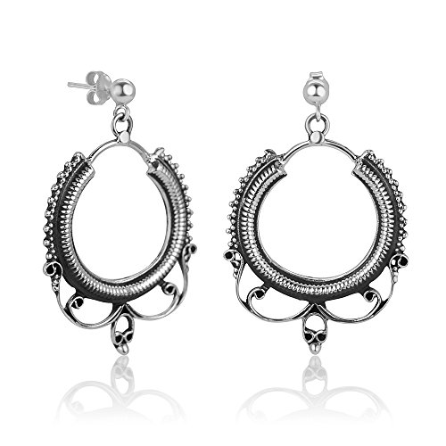 925 Oxidized Sterling Silver Ethnic Tribal Filigree Indian Rope Design Hoops Post Earrings 1.77