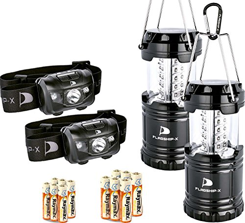 Electric Headlamp - Insane Sale Flagship-X Lanterns and Headlamp Camping Lights Brightest CREE LED Portable Electric Bonus Waterproof Head lamp Flashlight for Outdoors (2 Lanterns 2 Headlamps)