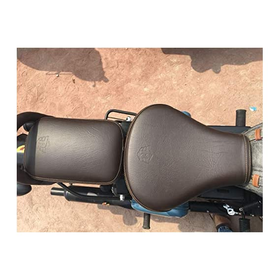 SaharaSeats Gunmetal and Signals & Pegasus Coffee Brown Seat Cover for Royal Enfield Classic 350/500 (Gunmetal and