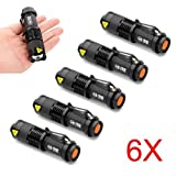 (2 Year Warranty !) 6 Mini CREE Q5 LED Flashlight Torch 7W 300LM Mini CREE LED Flashlight Torch Adjustable Focus Zoom Light Lamp for Riding Camping Hiking Hunting & Indoor Activities