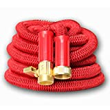 CLOSEOUT Best 25' Expanding Hose, Strongest Expandable Garden Hose on the Planet. Solid Brass Ends, Double Latex Core, Extra Strength Fabric, 2016 design