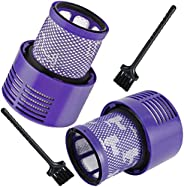 Washable Replacement Filter (2 Pack) with 2 Pcs Cleaning Brush for Dyson V10 Cyclone Series, V10 Absolute, V10