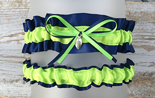 Navy Blue Lime Seattle Inspired Satin Football Charm Wedding Bridal Garter ()