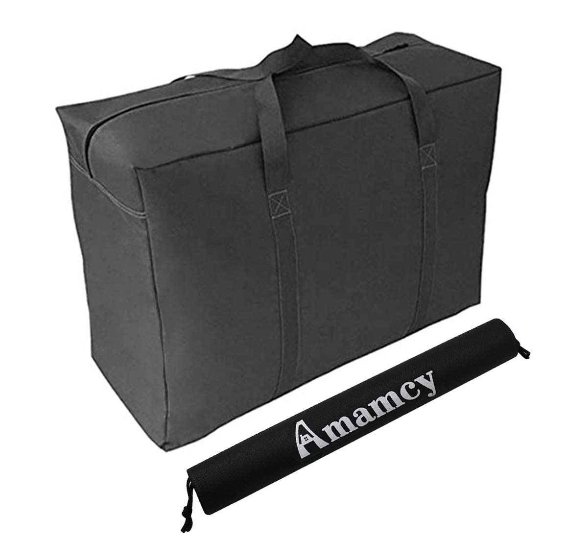 Amamcy Extra Large Over-Sized Handy Storage Bag Waterproof Heavy Duty Oxford Travel Luggage Caddy Organizer Reusable Laundry Bags Duffel Space Saver with Web Handles for Quilt Beddings Blanket
