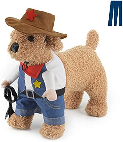 Mikayoo Pet Dog Cat Halloween Costumes,The Cowboy for Party Christmas Special Events Costume,West Cowboy Uniform with Hat,Funny Pet Cowboy Outfit Clothing for Dog cat 37