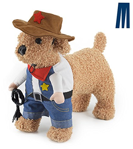 Mikayoo Pet Dog Cat Halloween Costumes,The Cowboy for Party Christmas Special Events Costume,West Cowboy Uniform with Hat,Funny Pet Cowboy Outfit Clothing for Dog cat(L)]()