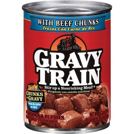 Gravy Train Chunks in Gravy with Beef Chunks Wet Dog Food, Pack of Twelve 13.2-Ounce Cans (Gravy Train Beef Flavor)