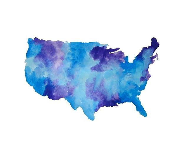 Us Map Artwork.Amazon Com Us Map Artwork Watercolor Map Print Travel Painting