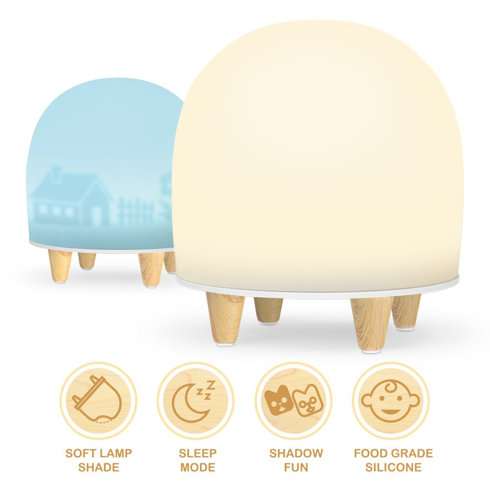 Night Light for Kids, multifun Rechargeable Nightlight Projector for Children Silicone LED Touch Control Lamp Table Emergency Light BPA-Free Bedside Nursery Lamp Gift for Baby, Girl, Multi Color Mode