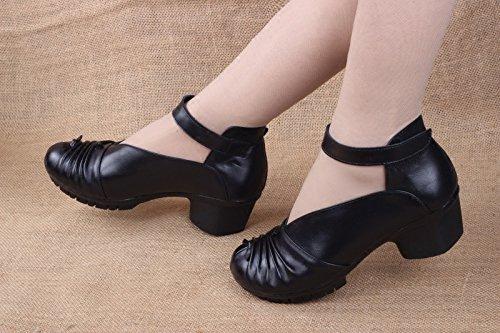 El GTVERNH Zapatos De Aged National Zapatos La Tacon Y Otoño Women Tacones Middle Las Wind Shoes Hebilla Primavera black Y Madre Mujer Alto De Mujeres Pulsera Zapatos De CrrtZq