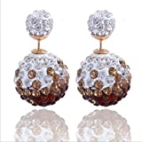 Sumanee Women Fashion Rhinestone Crystal Beads Double Sided Earring Two Ball Ear Stud 7