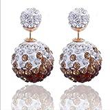 Sumanee Women Fashion Rhinestone Crystal Beads Double Sided Earring Two Ball Ear Stud 7
