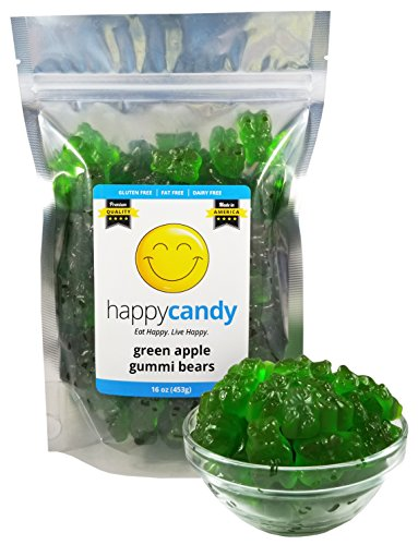 Happy Candy Green Apple Gummi Bears - Gluten Free, Fat Free, Dairy Free - Resealable Pouch (1 Pound)