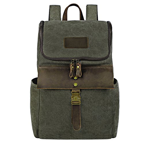 Outdoor Hiking Backpack, Men's Water Resistant Backpacks Specially High Density Thick Canvas Fabric Cotton Genuine Leather Rucksack Casual Bookbag by FRFUN