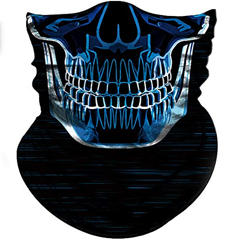 Obacle Skull Face Mask Half for Dust Wind UV Sun Protection Seamless 3D Tube Mask Bandana for Men Women Durable Thin Breathable Skeleton Mask Motorcycle Riding Bike Sports Festival (Blue-Line Skull)