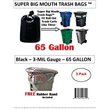 65 Gallon Super Big Mouth Trash Bags 3-Pack Plus 1 Free Rubber Tie Down Band
