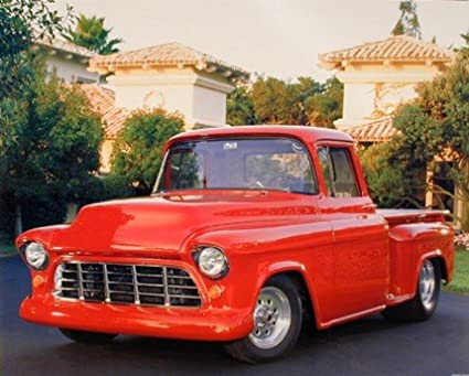 Amazon.com: 1956 Red Chevy Pickup Truck (Greg Smith) Wall Decor Art ...