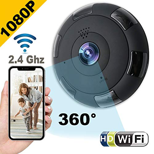 360 IP Camera 1080P Wireless Dome Camera Outdoor Indoor Home Security Surveillance System with Night Vision/Motion Detection/Two-Way Audio/PTZ, 2.4Ghz WiFi for Pet Baby MicroSD Slot, Android, iOS App