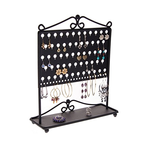 Earring Holder Organizer Stand Jewelry Organizer Hanging Earring Tree Storage Display Rack Tray, Ginger Black by Angelynn's Jewelry Organizers