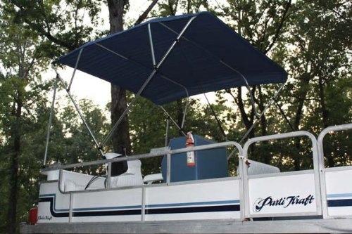 New NAVY BLUE Vortex Pontoon / Deck Boat 4 Bow Bimini Top 10' Long, 91-96' Wide, 54' High, Complete Kit, EASY INSTALLATION (FAST SHIPPING - 1 TO 4 BUSINESS DAY DELIVERY)
