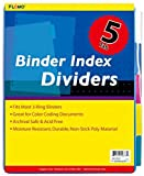 5 pack Poly Binder Index Dividers with Colored Tabs 48 pcs sku# 1916130MA