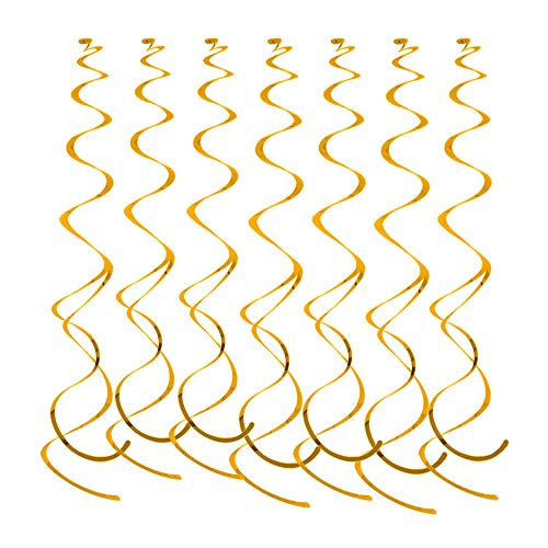 Lowki Hanging Swirl Party Spiral Swirl Decorations for Party, Ceiling Decoration for Birthday, Baby Shower, Anniversary, Graduation,Christmas Holiday Celebration Party Supplies -Pcs of 12 (Gold)