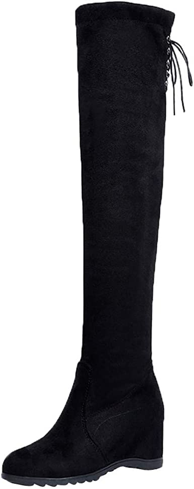 Winter  Women/'s Faux Suede Warm Fur Lined  Ladies Over The Knee Boots Shoes Size
