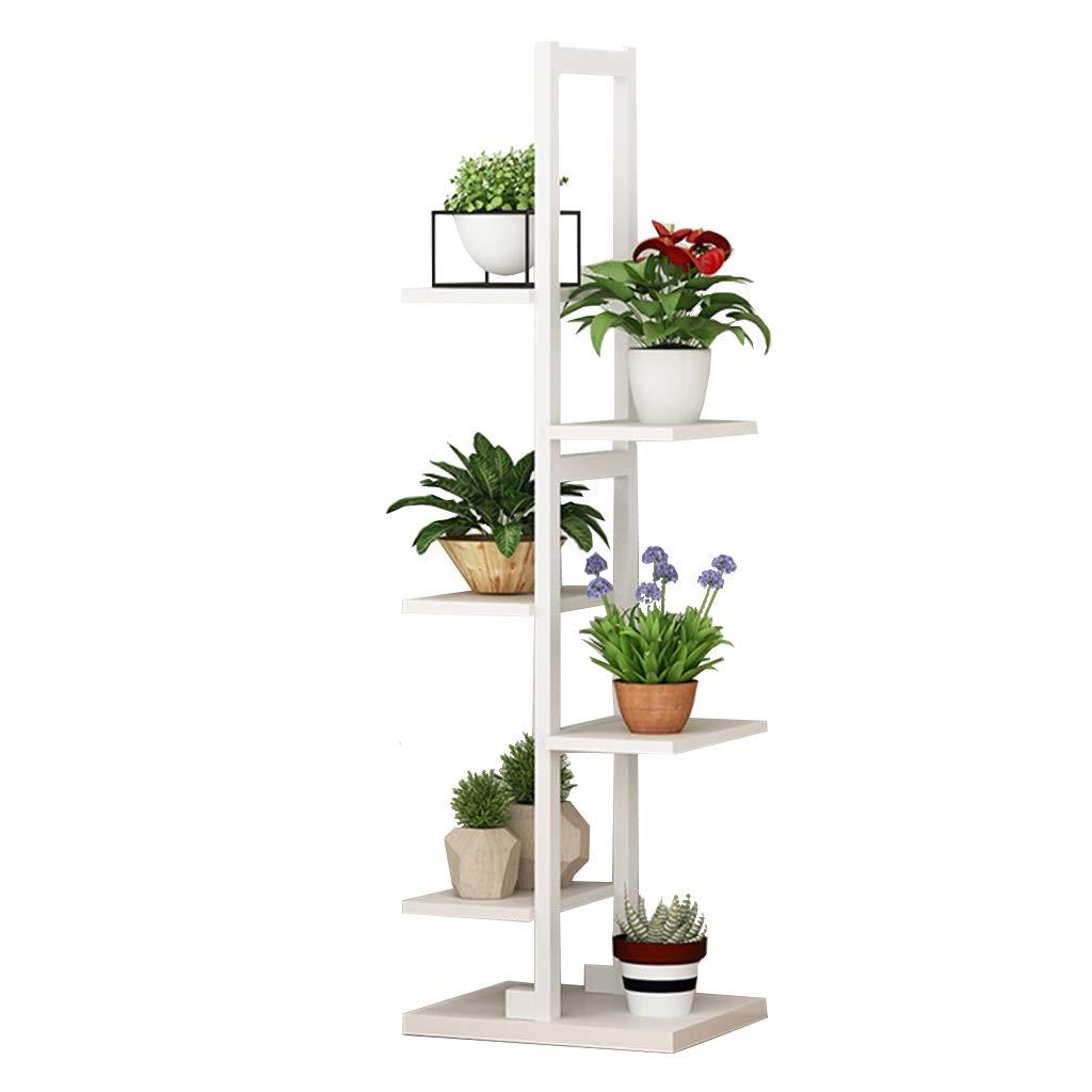 Étagère à fleurs étagère à plantes décorative en bois présentoir en acier cadre en acier étagère de stockage étagère en plein air / intérieur 6 porte-pots de fleurs en blanc pour salon jardin bureau 30x30x122cm JUN-Étagères à fleurs