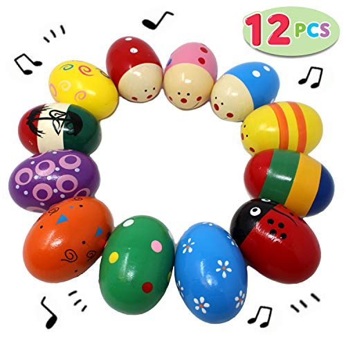 JOYIN 12 Pieces 3″ Wooden Egg Shakers Maracas Percussion Musical for Party Favors, Classroom Prize Supplies, Musical Instrument, Basket Stuffers Fillers, Easter Hunt