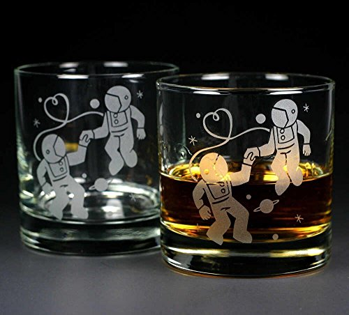 ASTRONAUT LOVE Lowball Glasses set of 2