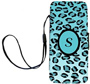 """Rikki Knight Letter """"S"""" Initial Leopard Print Monogrammed Flip Wallet Case for iPhone 5/5s - Non-Retail Packaging - Sky Blue"""
