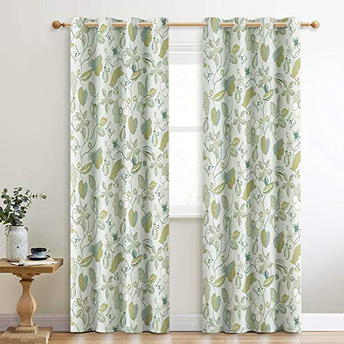 KGORGE Girls' Room Décor Curtains - 95-inch Artistic Print Window Drapes for Light Blocking with Flower and Leaf Pattern, Green, 52in by 95in, 2 Pcs ()