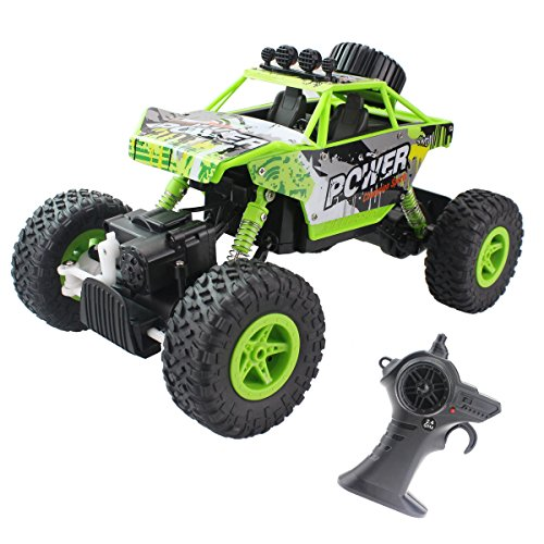 Fistone-RC-Car-Rock-Crawler-24G-118-4WD-Off-Road-Vehicle-Remote-Controlled-Monster-Truck-Double-Power-Motor-Climbing-Car-With-Rechargeable-Battery-Electronic-Children-Toy-ModelGreen