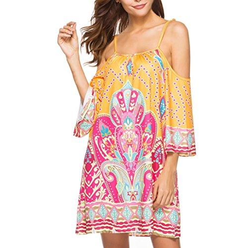 - Womens Short Dress Plus Size,2018 Summer Casual Bohemia Spaghetti Straps Floral Print Loose Cold Shoulder Mini Dress Party Dress (Yellow, XL)