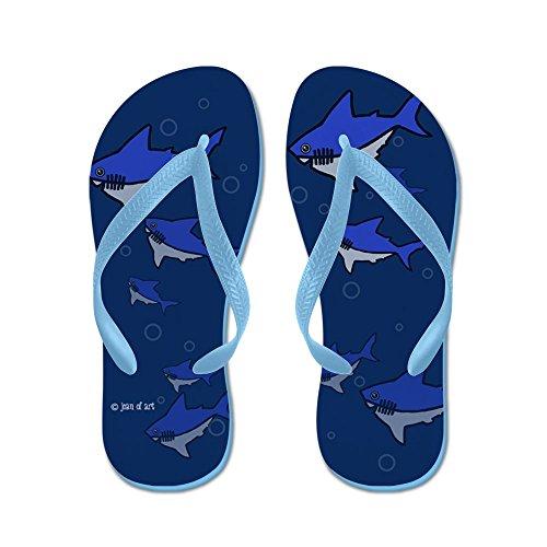 Cafepress Haj Flip Flops - Flip Flops, Roliga Rem Sandaler, Strand Sandaler Caribbean Blue