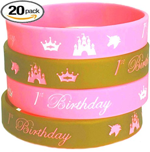 20 pcs 1st Birthday GOLD-PINK Wristbands / Kids Party Favors (Adult, 1st Birthday Pink) (1st Birthday Favor)