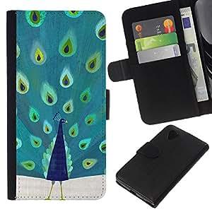 Planetar® Modelo colorido cuero carpeta tirón caso cubierta piel Holster Funda protección Para LG Google NEXUS 5 / E980 / D820 / D821 ( Plumas de aves de África Majestic)