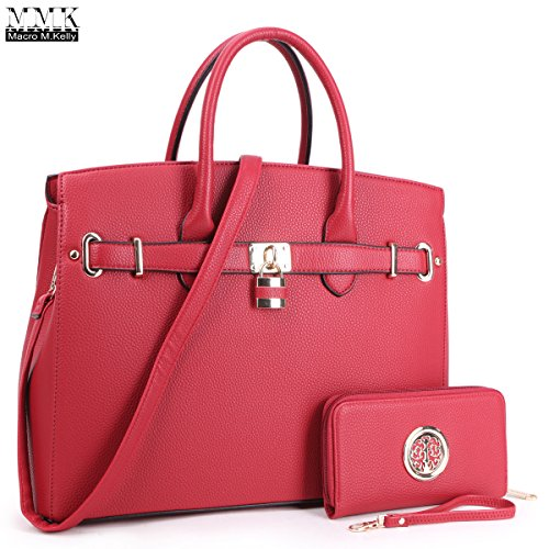 MMK Collection Women Solid Color Large Size PU Leather Simple Concise Business Style(8895N) with Gold Tone Framed Tote Bag Top Handle Bag Handbag with Shoulder Strap (MA-03-1006-W-RD) (Leather Kelly Purse Handbag)