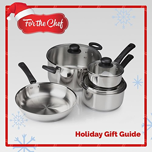 FortheChef 7 Piece Full Gourmet Cook's Mirror-Finish Stainless Steel Cookware Set with Tri-Ply Bottoms, Tempered Glass Lids & Stay-Cool Handles & Knobs, Induction-Compatible