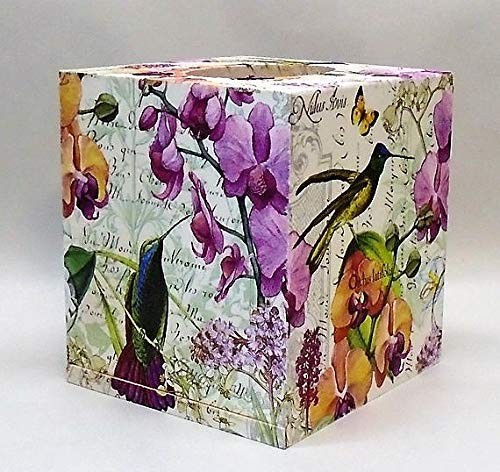 (Handmade Decoupage Wood Tissue Box Cover, Hummingbirds, Orchids)