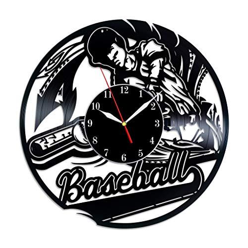 (Baseball Vinyl Clock, Baseball Sport Game Vinyl Record Wall Art Handmade Vintage Decor, Unique Original Gift Idea Vinyl Decal Theme Poster)